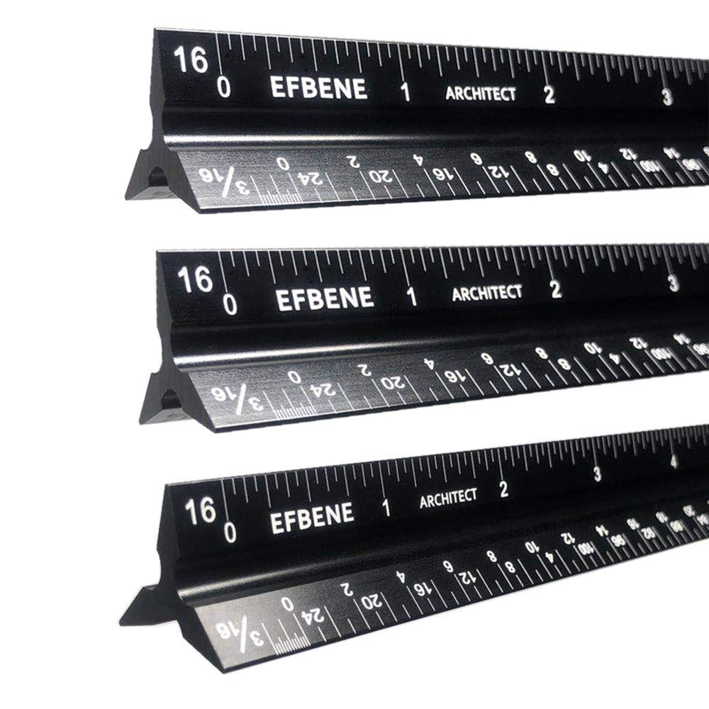 Architect Ruler, 3 Packs of Solid Aluminum Laser Etched Triangular Architect Scale Ruler 12 Inch, Imperial