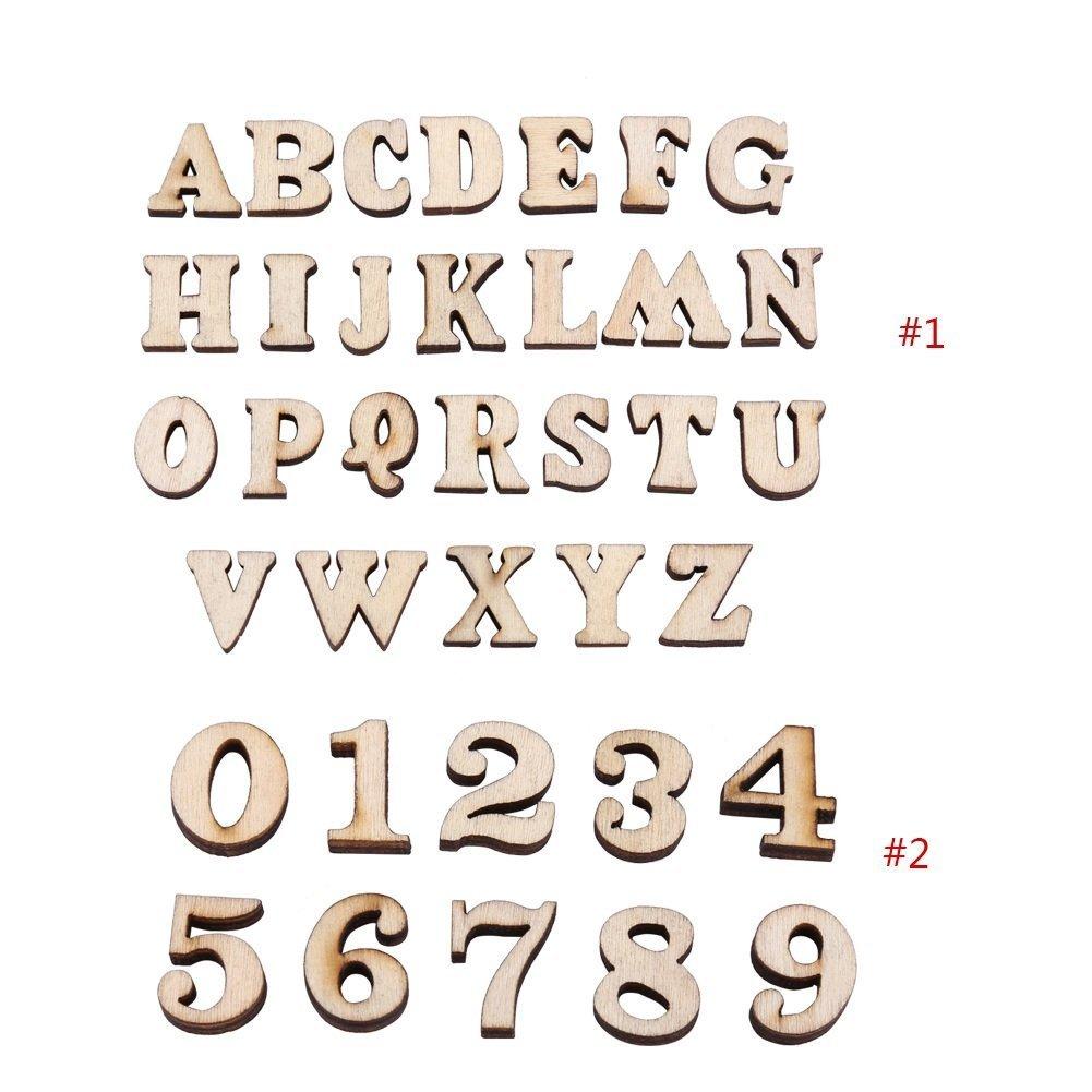 200PCS En Bois 0-9 Chiffres Et A-Z Lettres En Bois DIY Jouets Pour Les Enfants Enfants Apprentissage Pr/éscolaire Size : TYPE#1 Letters