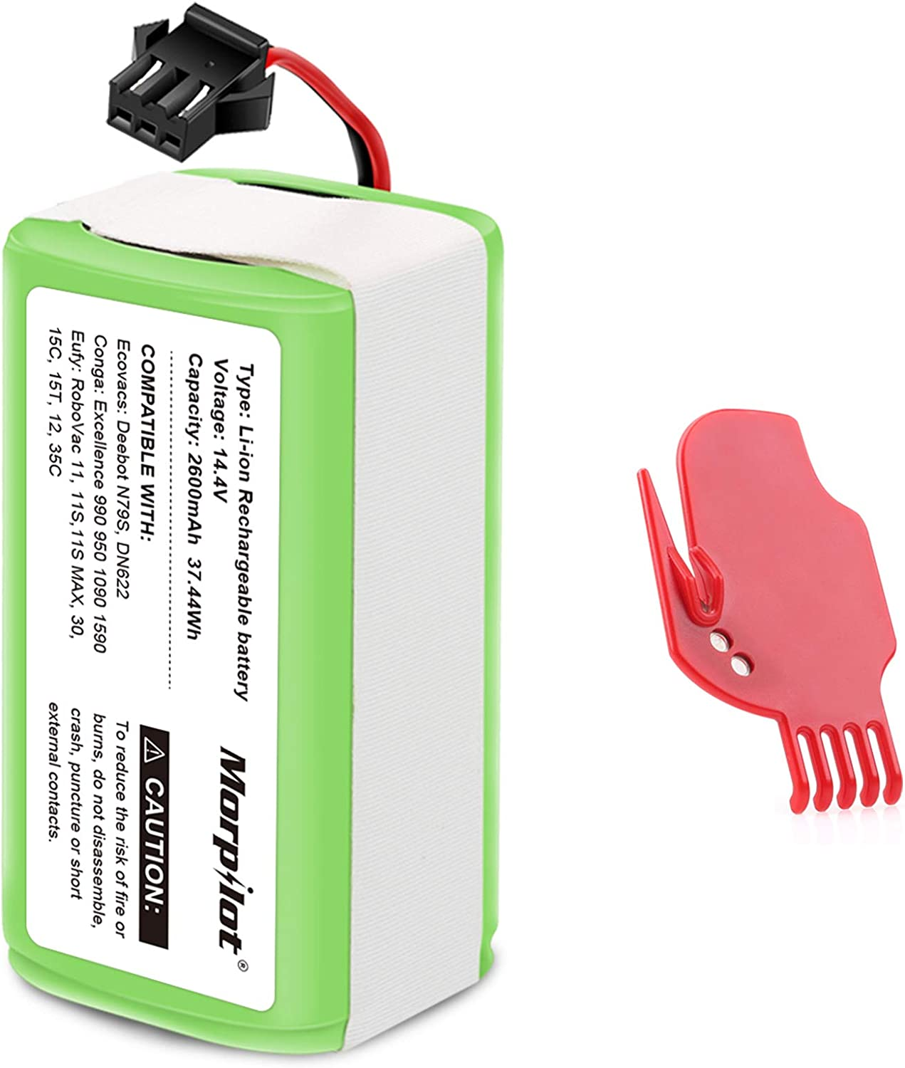 morpilot Batería 14.4V 2600mah Litio, Compatible con Conga Excellence y Conga Excellence 990 950 1090, DEEBOT N79S N79, Eufy RoboVac 11 11S 11S Max 15C 30C 30 MAX, IKOHS NETBOT S14 S15,