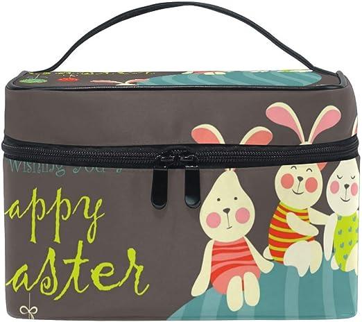 Bolsa de maquillaje de viaje Conejito de pascua Huevos de conejo Estuche cosmético portátil Organizador Bolsa de aseo Bolsa de maquillaje Estuche de tren para mujer: Amazon.es: Oficina y papelería