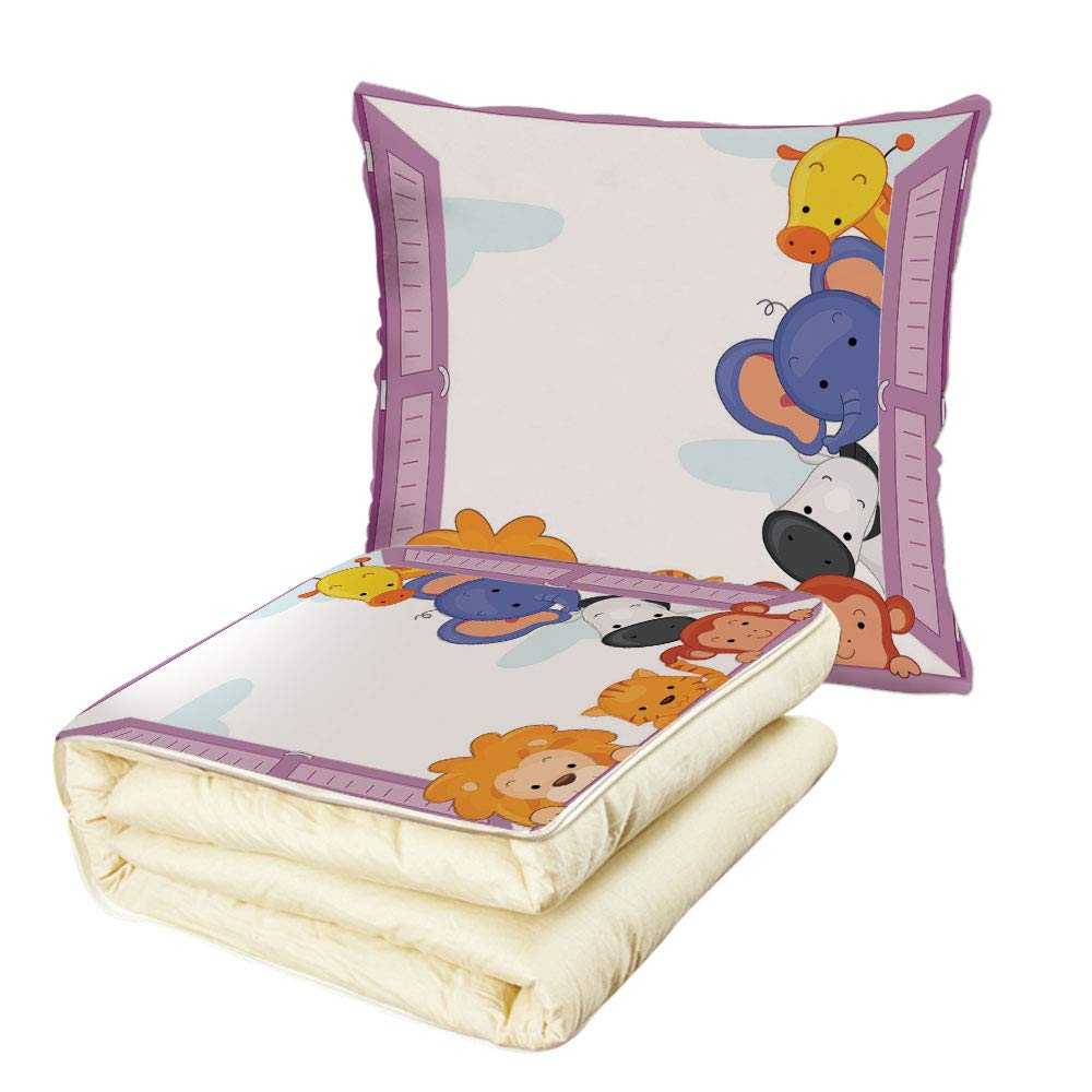 iPrint Quilt Dual-Use Pillow Zoo Cute Colorful Animals Peeping at Pink Window Cartoon Frame Cat Monkey Lion Elephant Decorative Multifunctional Air-Conditioning Quilt Multicolor