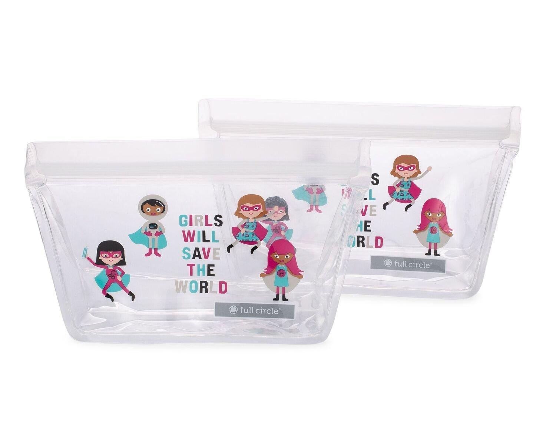 Full Circle ZipTuck Kids, Reusable Lunch Bags, 2 Pack, Dinosaur FC17345D