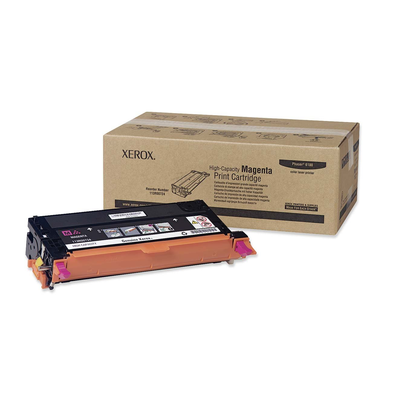 XEROX 113R00724 High Capacity Magenta Toner Cartridge For Phaser 6180