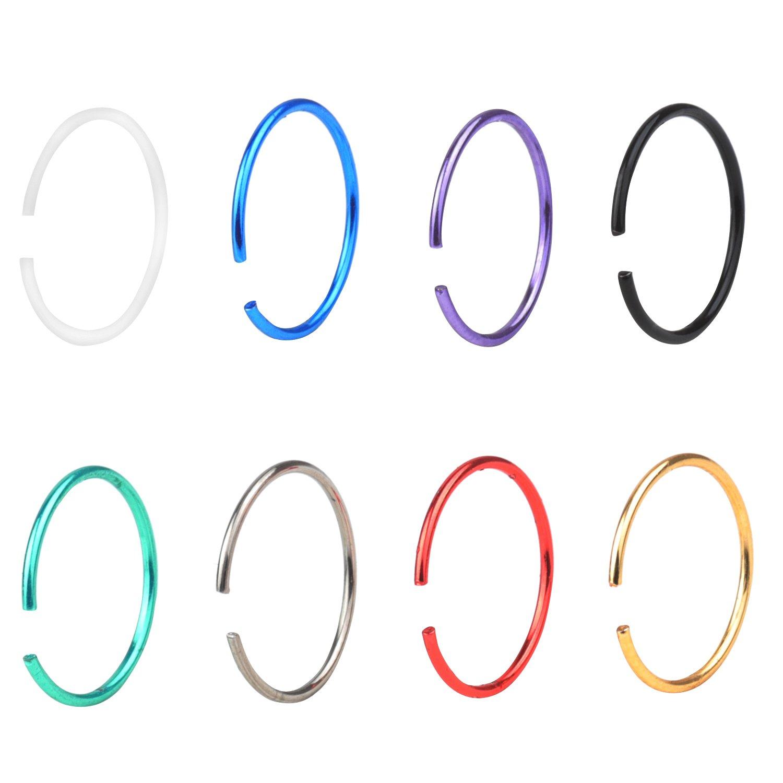 Stainless Steel 22G Nose Rings Piercing Jewelry Hoop Nose Ring 8mm RJRK n0216