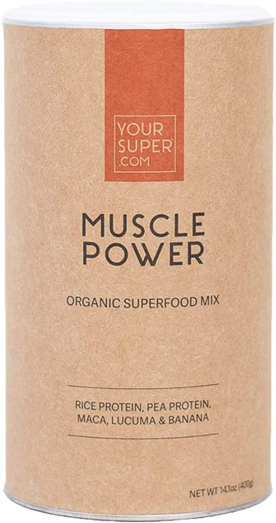 Muscle Power Superfood Mix by Your Super Plant Based Protein Powder Workout Boost with All 9 Essential Amino-Acids Whey Alternative Non-GMO, Organic Ingredients