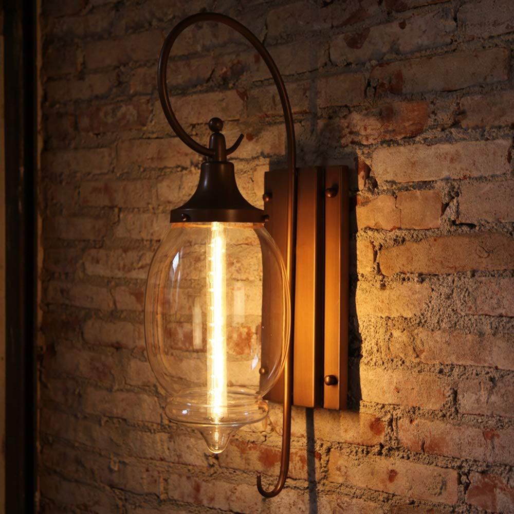 Vinteen Vintage Glass Wall Light Lamp Rustic Industrial Multi-Armed Wall Sconce Lantern with Retro Wall Mounted for Corridor Restaurant Dining Room Coffee Shop Kitchen (Brown)