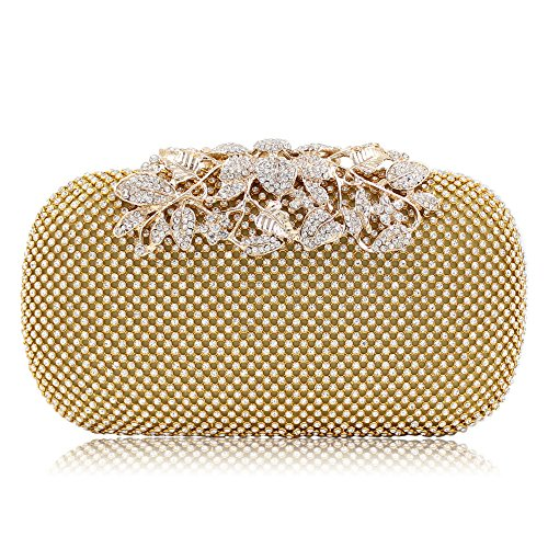 NBWE à les de embrayage main main strass à Vintage mariage paillettes partie soirée Femmes sacs sac de pour clubs sac Gold de 7TZr47q