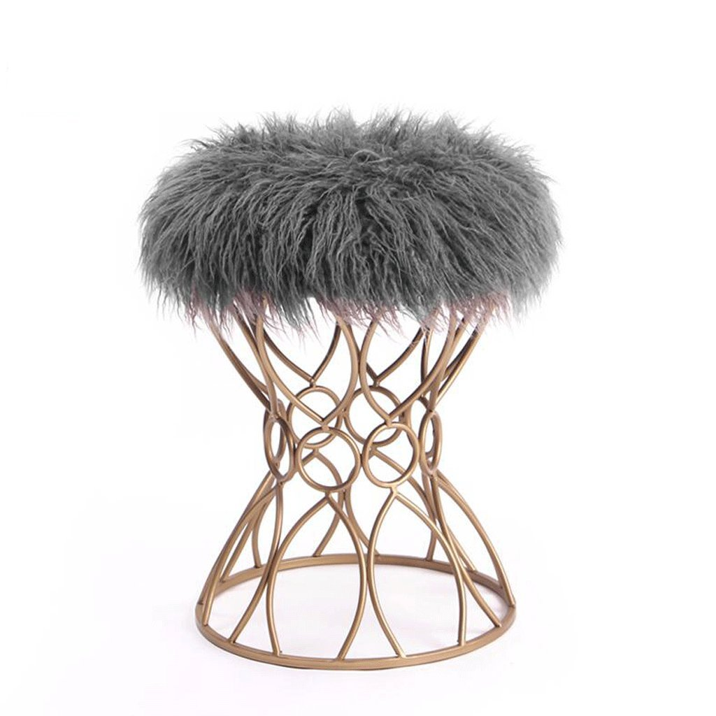 C Fashion Wrought Iron Bed End Stool Vanity Stool shoes Bench Princess Makeup Stool (color   C)