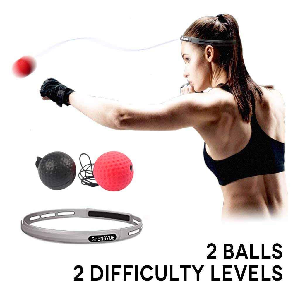 2 Difficulty Level Boxing Fight Reflex Balls Fight Ball Reflex Speed Reactions Boxing MMA Training Punch Equipment Boxing Ball with Headband to Improve Hand Eye Coordination Sport Exercise Fitness Keptfeet