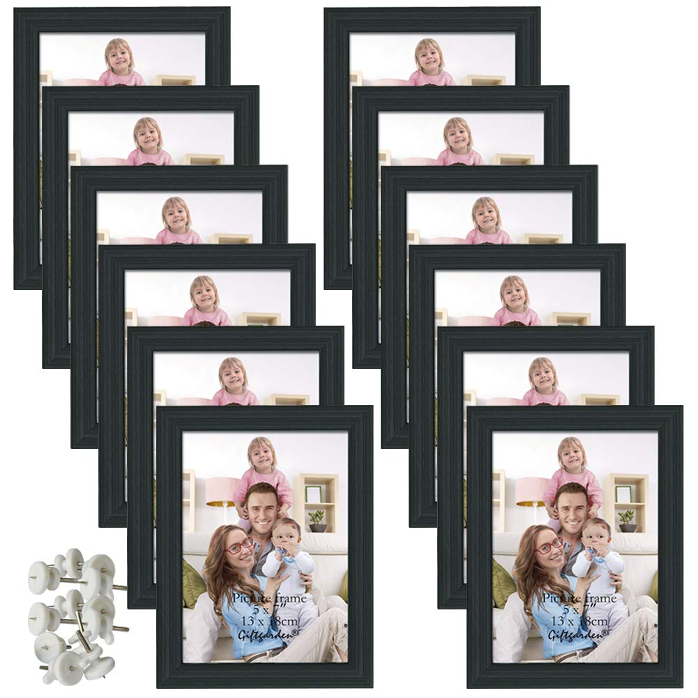 Giftgarden 5x7 Picture Frame for Wall Decor or Tabletop, Black, 12 Pack by Giftgarden