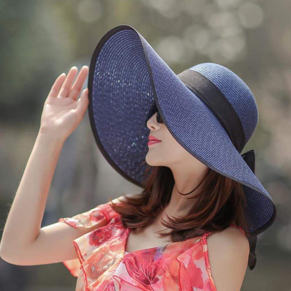 Corldif Womens Beachwear Sun Hat Striped Straw Hat Floppy Big Brim Hat Foldable Roll Up Sunhat UPF 50+ Navy Blue