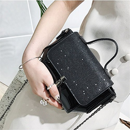 Straps Color Messenger Bag Glitter Sunbobo Red Square Optional Lock Bag PU Stars Chain Black Colors Four Shoulder Simple Retro qq7aPY