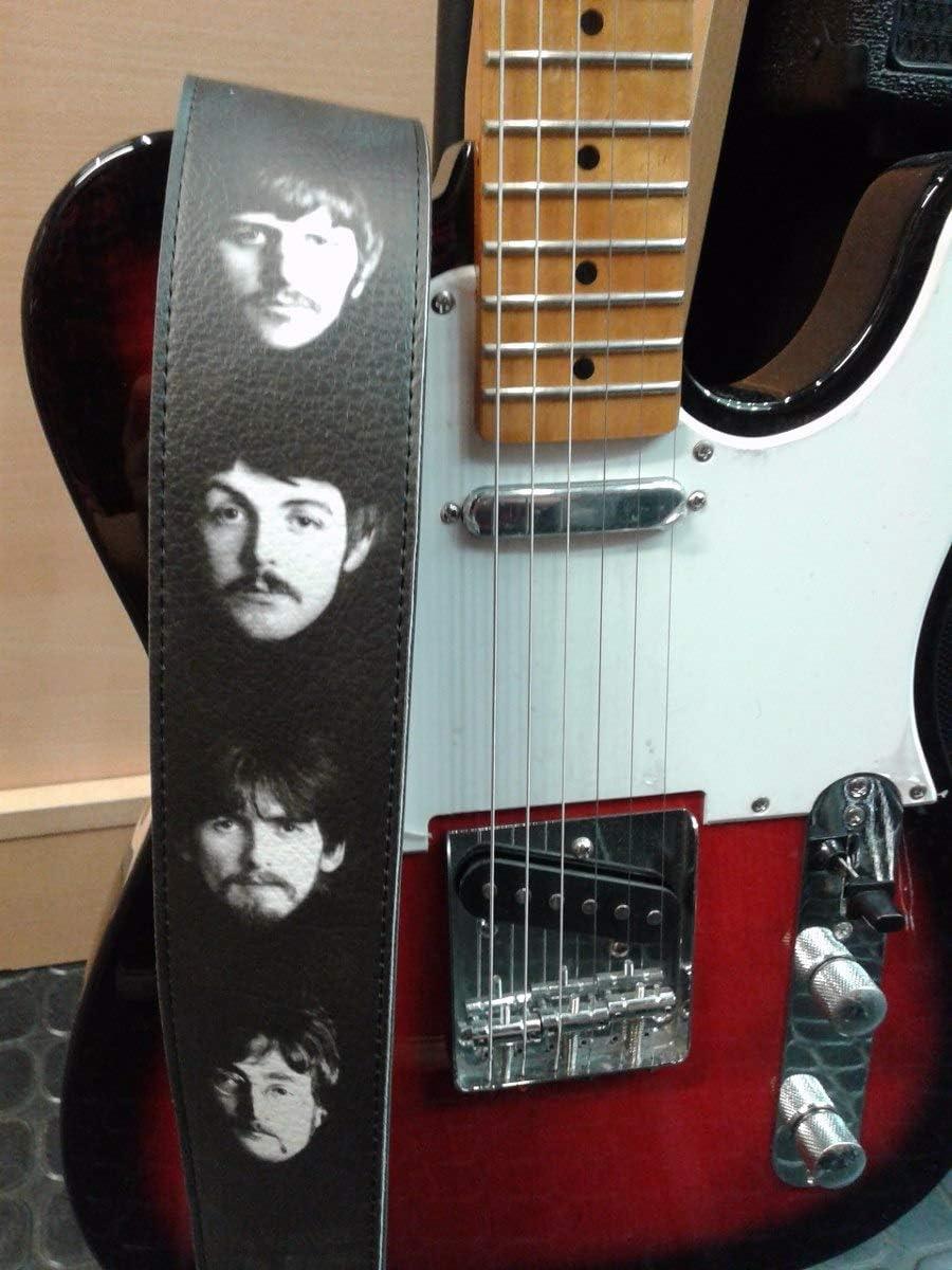 The Beatles - Correa de piel reciclada para guitarra, tamaño ajustable, unisex