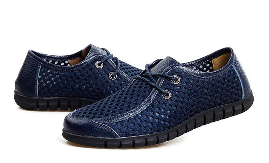 Bebete5858 Verano Zapatos de Malla Transpirable para Hombre Zapatos Casuales de Cuero Genuino Resbalón EN la Marca de Moda Zapatos de Verano Hombre Cómodo Suave 41 EU|Marrón