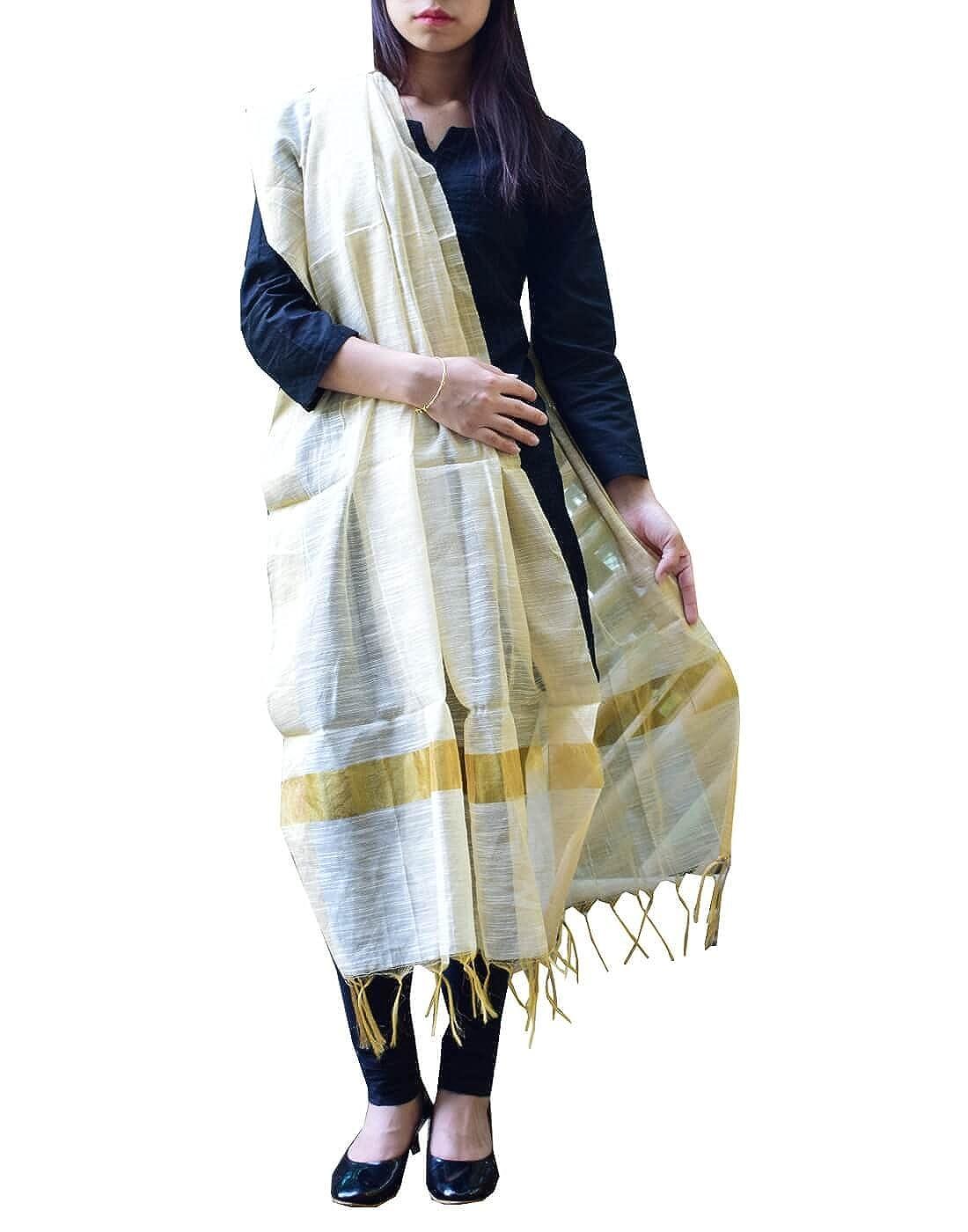 GiftPiper Cotton Silk Dupatta (Off-white)