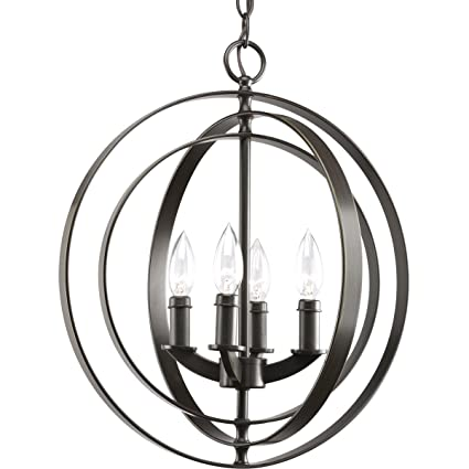 Progress lighting p3827 20 4 light sphere foyer lantern with pivoting interlocking rings antique