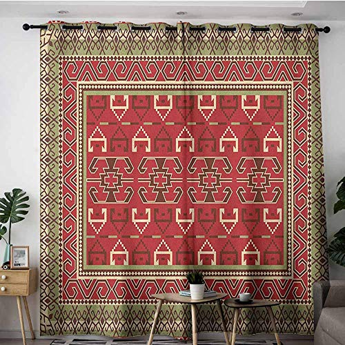 (AGONIU Window Curtain,Turkish Pattern Rectangular Frames and Abstract Shapes with Ottoman Origins,for Bedroom Grommet Drapes,W84x108L Ruby Pistachio Green Brown)