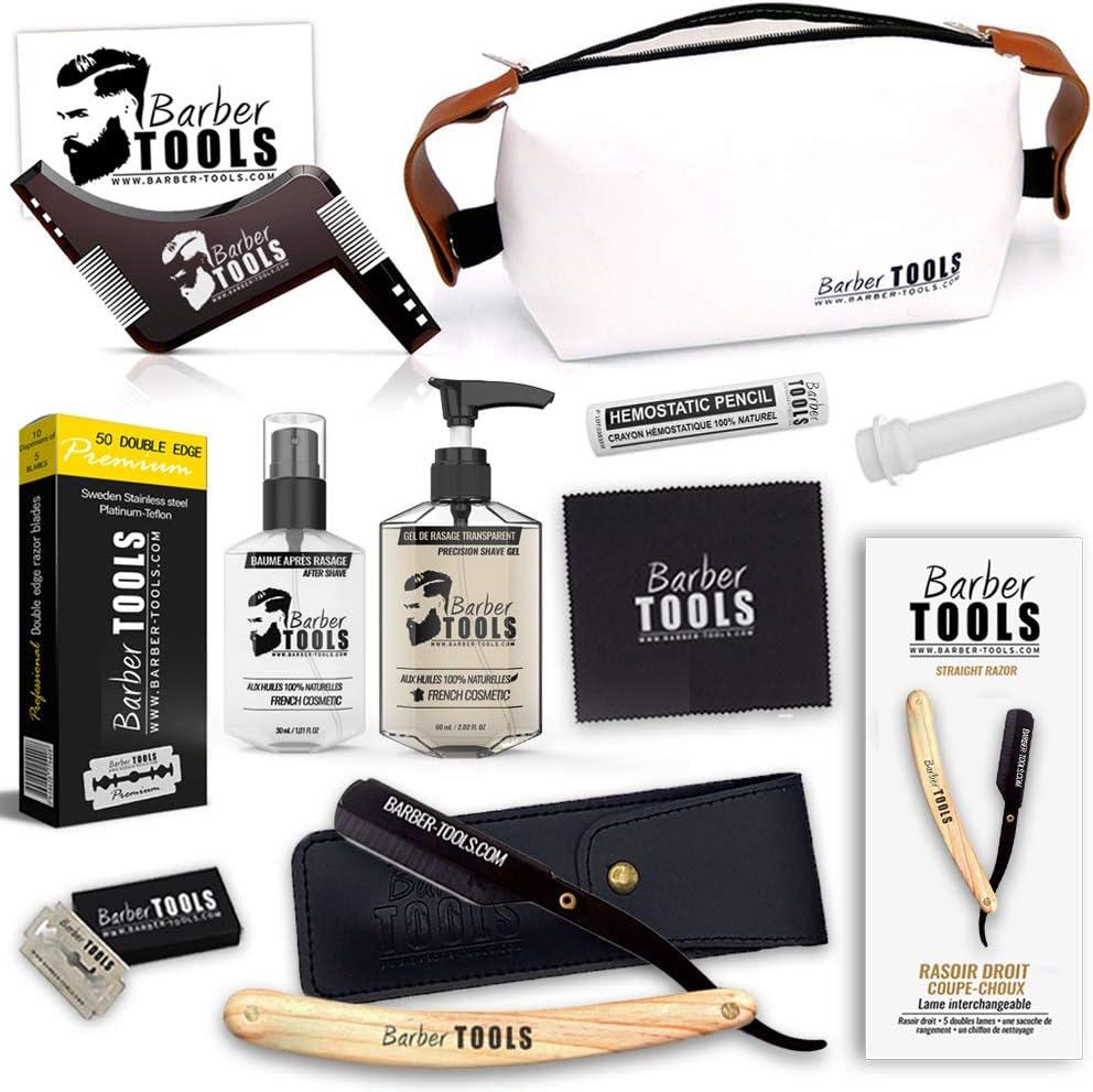 ✮ BARBER TOOLS ✮ Kit de afeitado - Navaja de afeitar + caja de 40 cuchillas de doble hoja + Peine guía para afeitar + Gel afeitado transparente 60 ml + Bálsamo para después del afeitado 30 ml.