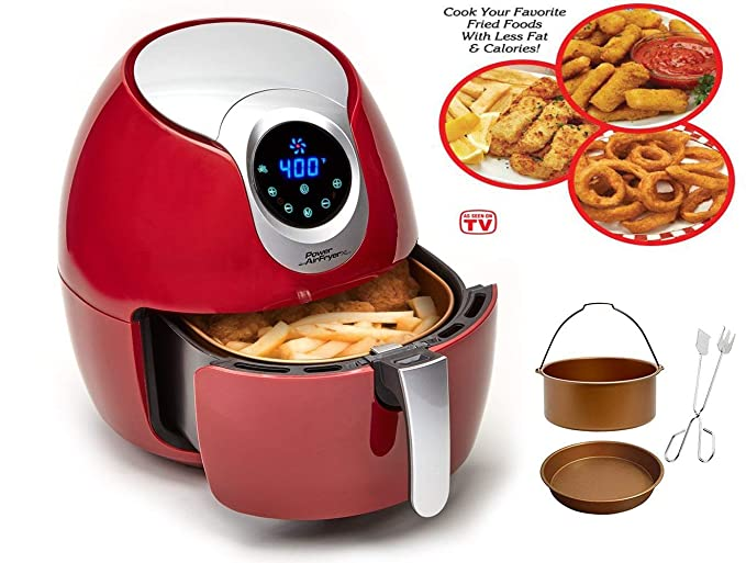 Amazon.com: Power Air Fryer XL 3.4 QT Delux Red Air Fryer (Certified Refurbished): Kitchen & Dining