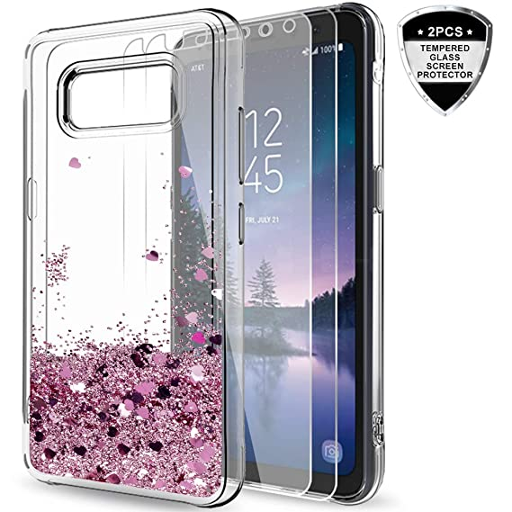 best service bc3f3 9c42a Galaxy S8 Active Case (Do Not Fit S8) with Tempered Glass Screen Protector  for Girls Women,LeYi Glitter Bling Quicksand Liquid Clear TPU Protective ...
