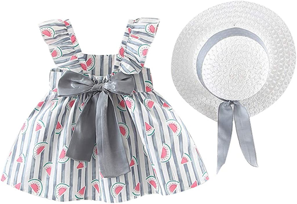 Toddler Baby Kids Girls Skirt+Hat Floral Ruched Bow Watermelon Print Princess Dress Clothes