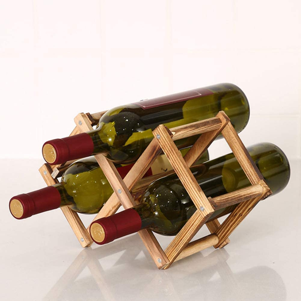 Gizayen Folding Wine Rack Wooden Wine Rack 3/6/10 Bottle Holder Folding Beverage Bottle Bar Display Stand Natural Wood Environmental Protection 3 Bottles