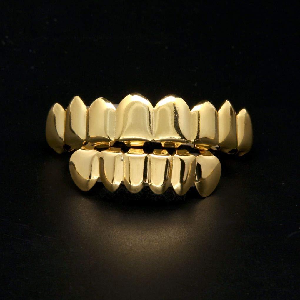 Beaums Hip Hop No/ël Halloween Set Cadeau Huit 8 Dents du Haut et 6 Gold Bottom Cuivrage Brace Faux Dents