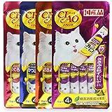 INABA CIAO CHURU Stick Cat Lickable Puree Creamy Cat Treat, Original Japanese Cat Snacks 4 Pack 16Pcs X 15g (4 Flavors)