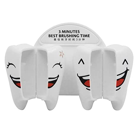 Amazon.com: Kangkang@ Plastic Cartoon Smile Tooth Style Suction Cup Wall Mounted Bathroom Toothbrush Holder Set with Cover cubre cepillo de dientes: Home & ...