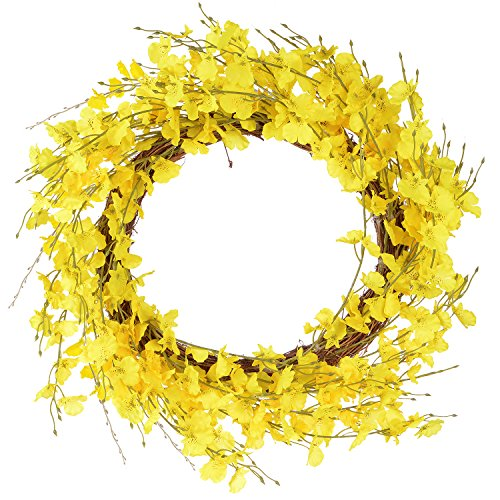 Lvydec Artificial Orchid Flower Wreath - 20'' Yellow Oncidium Flower Door Wreath Fake Flower Summer Wreath for Front Door Wedding Home Decor by Lvydec