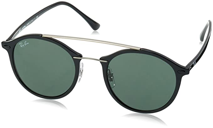 Amazon.com: Ray-Ban Injected Unisex Sunglass Round, Black ...