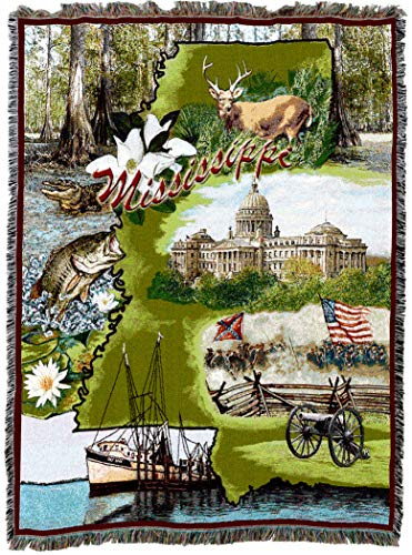 Pure Country Weavers | Mississippi 2 Woven Tapestry Throw Blanket Cotton 72x54 Cotton USA