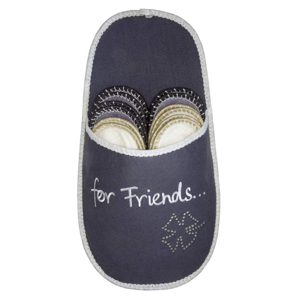 SLIPPERTREND Fleece Felt Close Toe 6 Pairs for Friends Non Slip Indoor Family House Guest Slippers Set