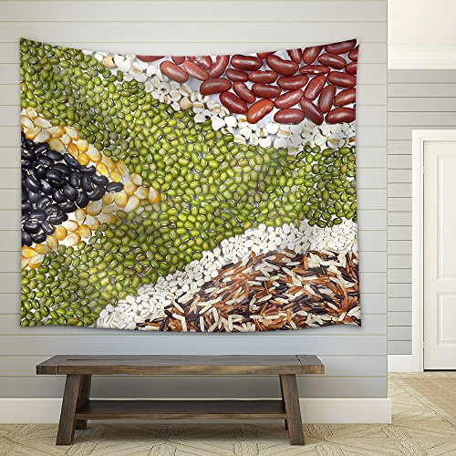 Africa Flag Food on White Background Fabric Wall Tapestry