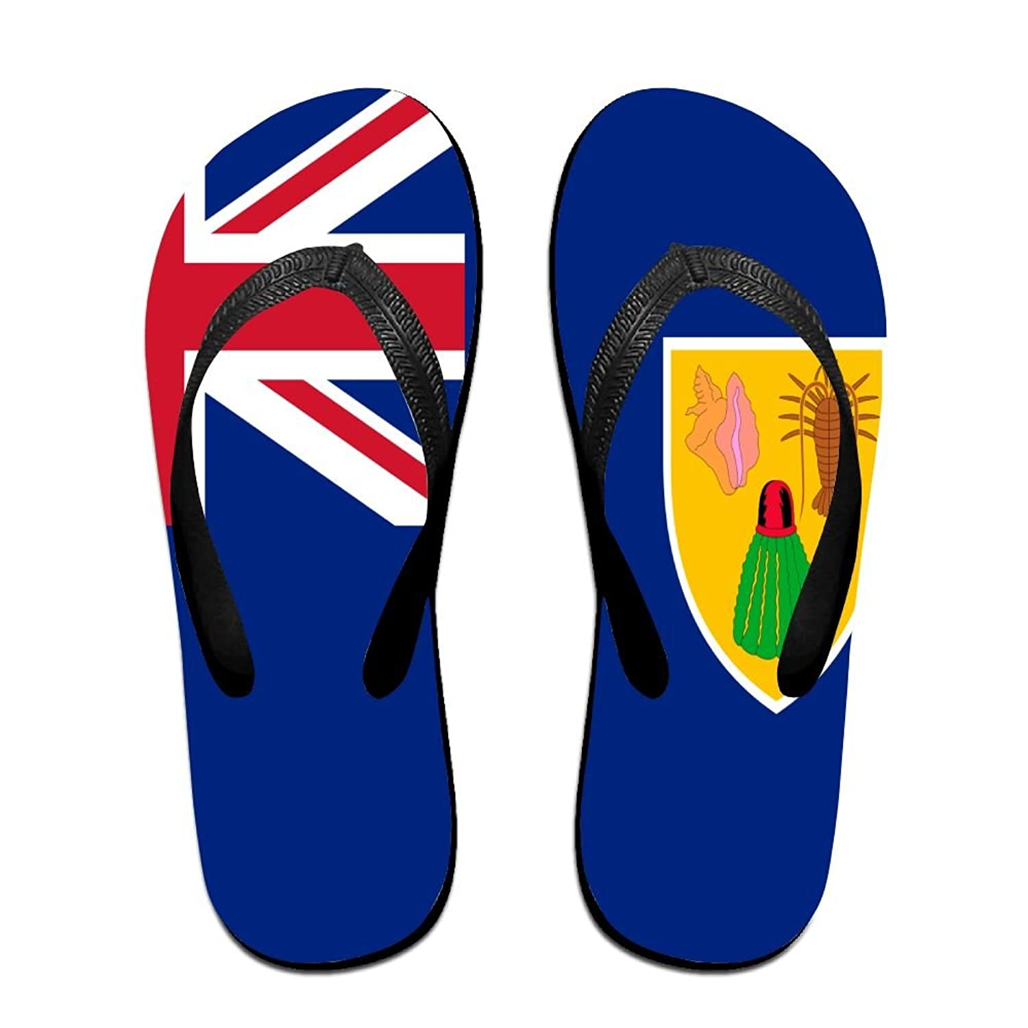 Flag Of The Turks And Caicos Islands Cozy Flip Flops For Children Adults Men And Women Beach Sandals Pool Party Slippers