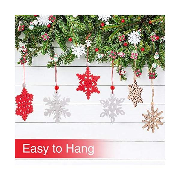 MELLIEX 18 Pezzi di Natale in Legno con Fiocchi di Neve Ornamenti, 3 Colori Albero di Natale Appeso Decorazioni Ciondolo, Natale Artigianato in Legno Abbellimento con Spago 3 spesavip