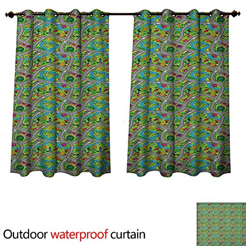 Anshesix Kids Car Race Track Roadway Activity Outdoor Curtain for Patio Handdrawn Style Suburb Cartoon Design Neighborhood W72 x L63(183cm x 160cm)