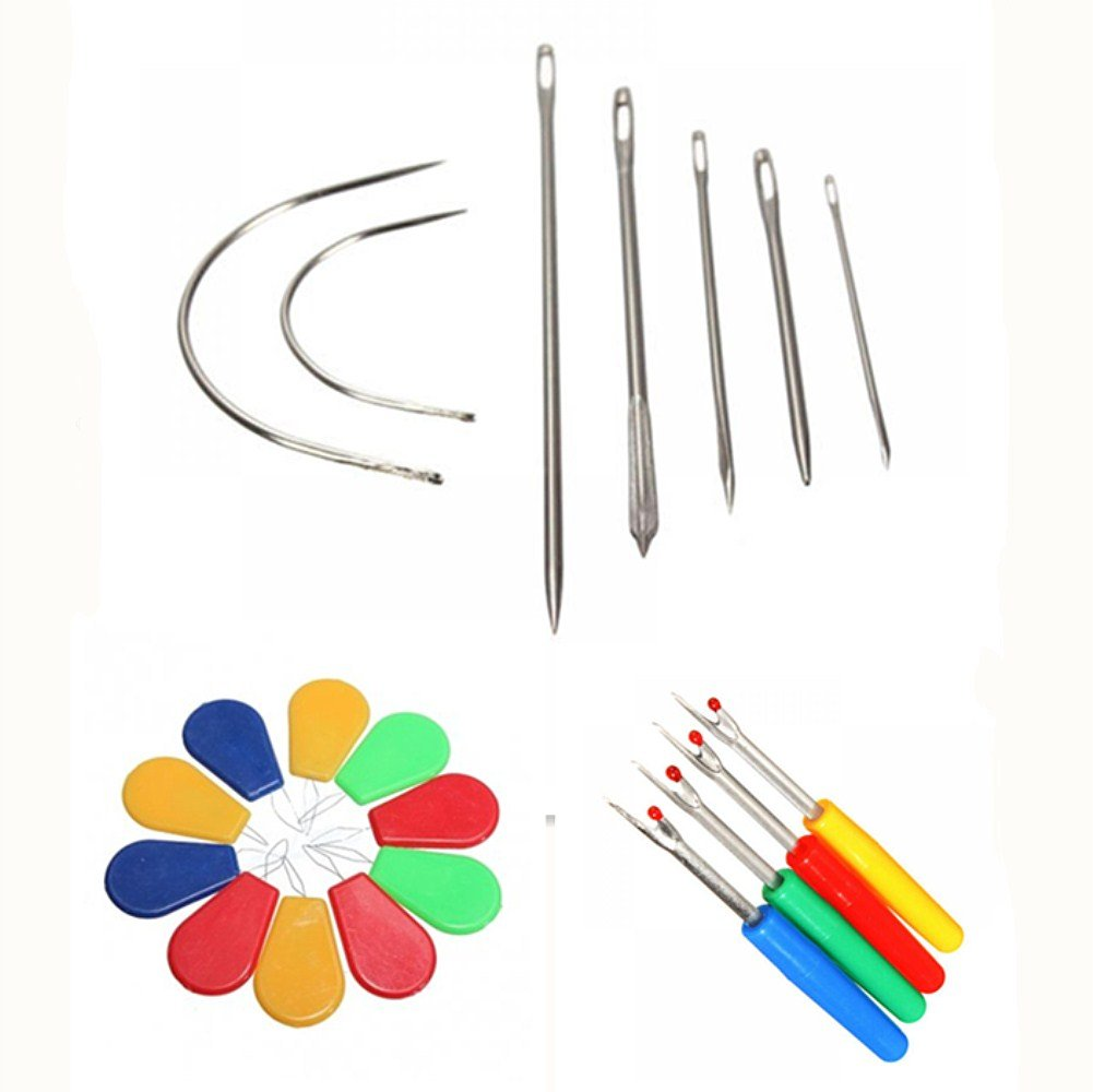 MAXGOODS 21PCs Repair Curved Hand Sewing Needles Kit, 7 Stitching Needles + 4 Deluxe Seam Ripper+ 10 Needle Threader F0G68