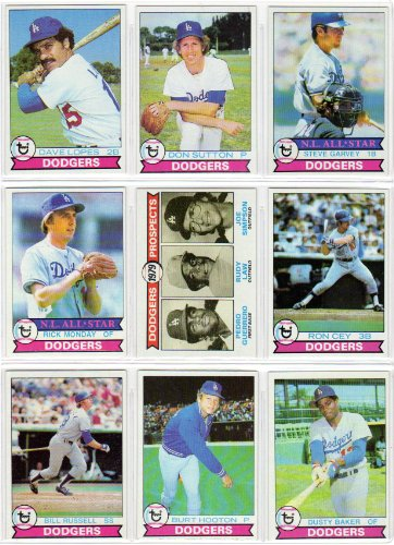 Los Angeles Dodgers 1979 Topps Baseball Team Set (27 Card Set) (Pedro Guerrero Rookie) Bob Welch Rookie) (Steve Garvey) (Tommy John) (Dave Lopes) (Don Sutton) (Rick Monday) (Ron Cey) (Bill Russell) (Burt Hooton) (Dusty Baker)