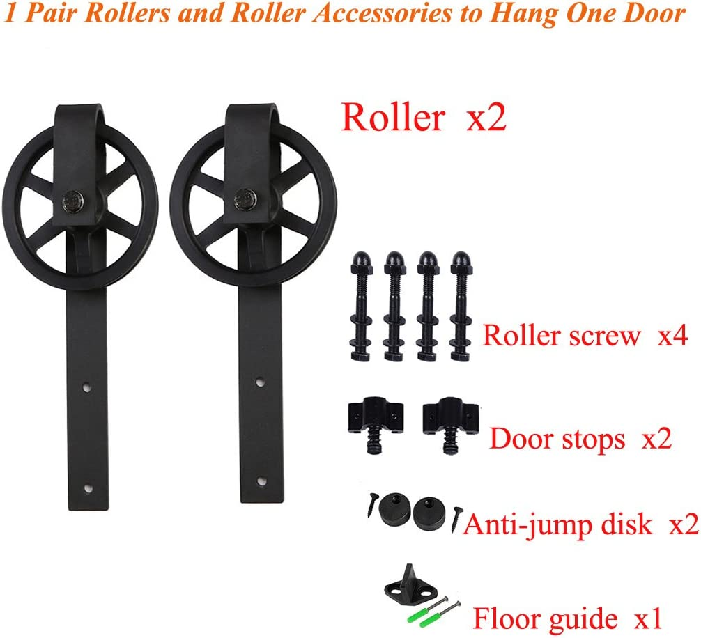CCJH 2-piece Quincaillerie Kit de Grande Roue Roulettes Style Fleur 2 Door Stops 2 Anti-jump disks 1 Floor Guide for pour une Portes Coulissante Suspendue en Bois