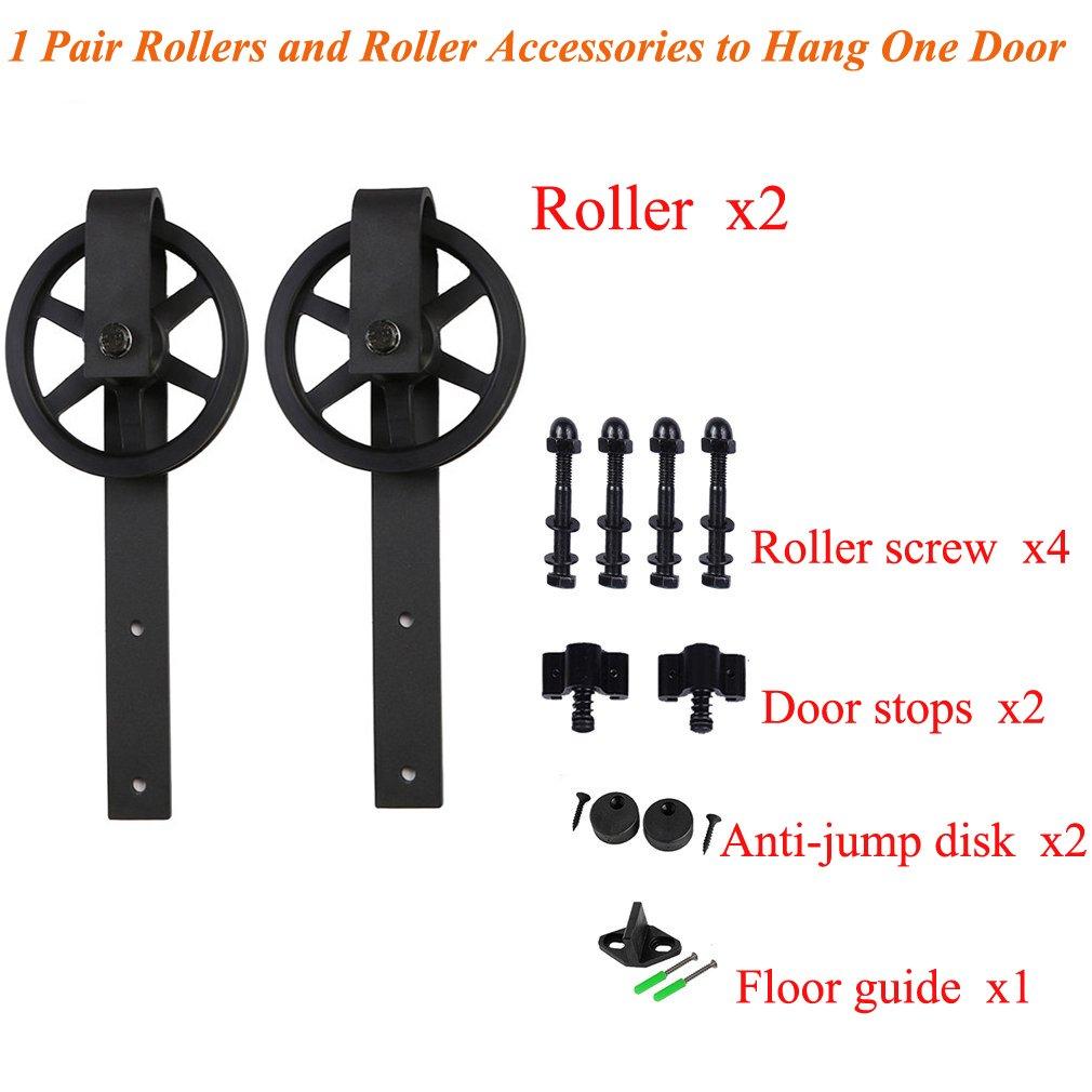 CCJH 7FT-214cm Quincaillerie Kit de Rail Roulette pour Porte Coulissante Ensemble Industriel Hardware kit pour Une Porte Suspendue en Bois