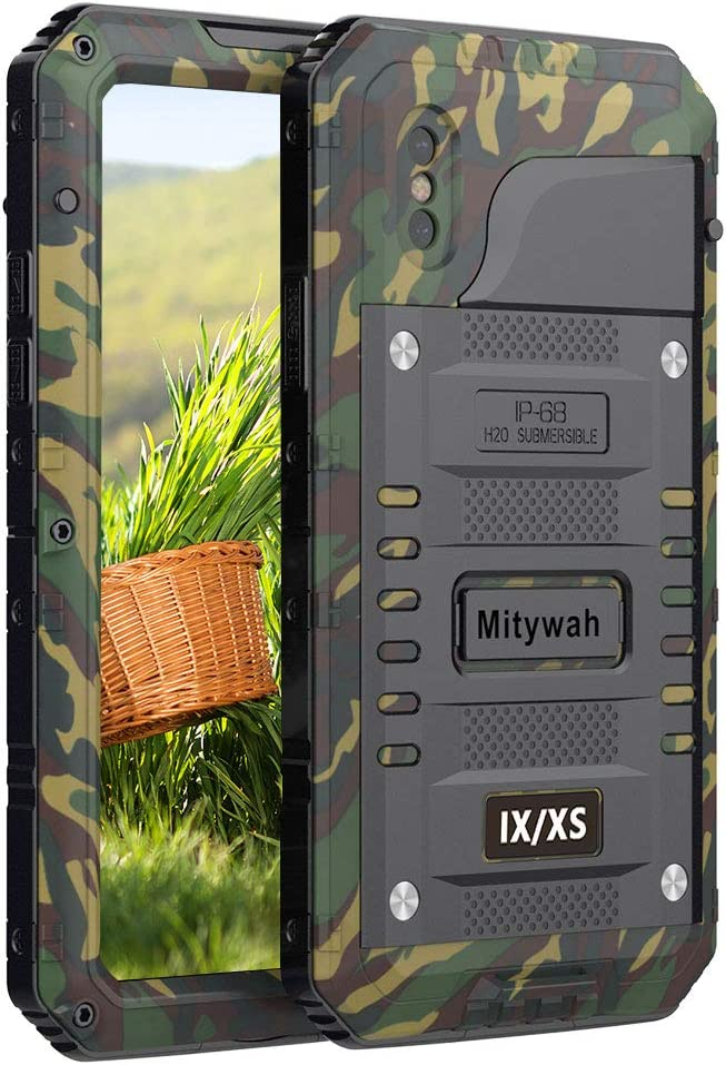 Mitywah Shockproof Case Compatible with iPhone X/XS,Waterproof Full Body Protective Cover with Impact Resistant Aluminium Alloy,Strong Military Defender Heavy Duty Metal Shell for Outdoor, Camouflage