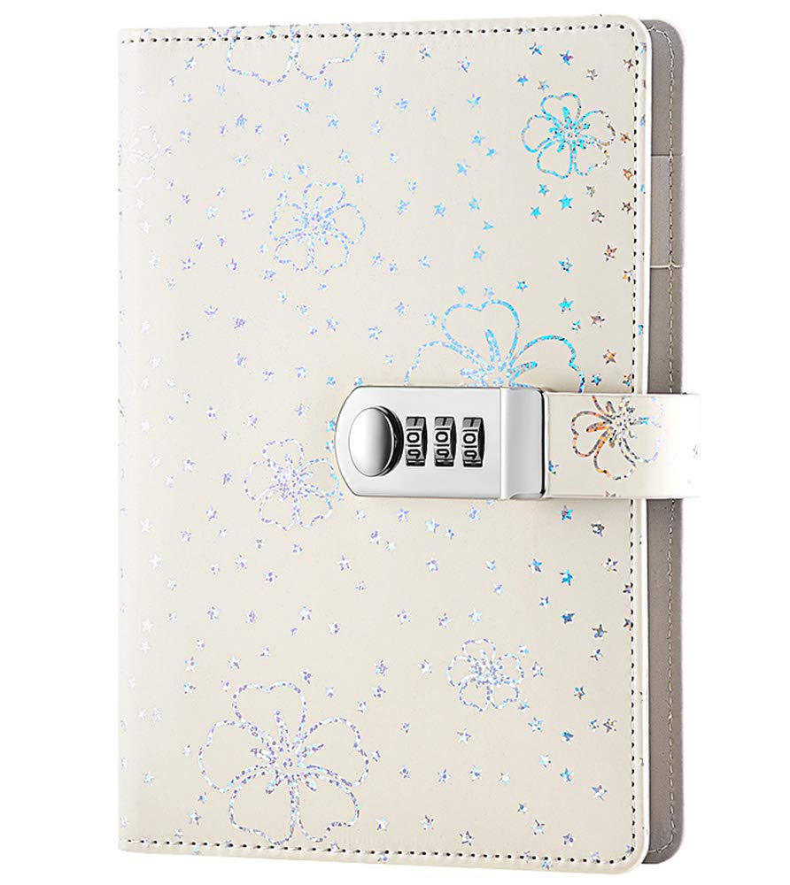 ARRLSDB PU Leather Journal with Lock, A5 Size Diary with Combination Lock (Journal with Combination Lock) Password Notebook Locking Student Diary Notepad (White)