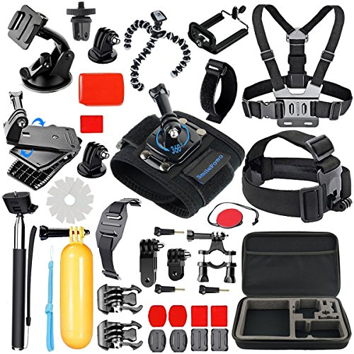 SmilePowo Sports Action Camera Accessory Kit for GoPro Hero 765 Black, Hero 5,4,3,2,1Session,GoPro Fusion, Hero 2018,DBPOWER,AKASO,APEMAN,SJ CAM,XIAO YI,2,Sony,Carrying Case,Handheld Monopod
