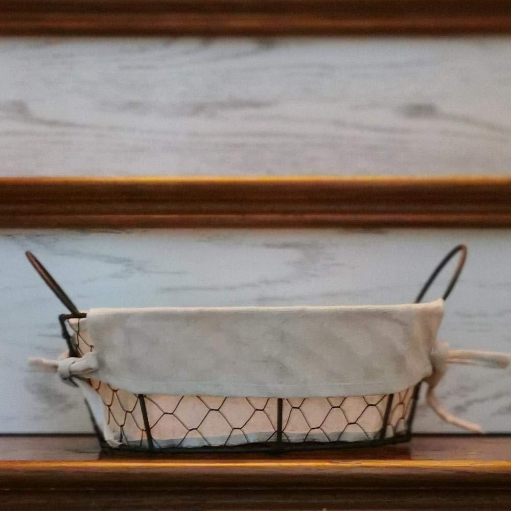 AOLVO Cesta De Servicio De Pan De Alambre De Metal Rectangular con Cocina Extra/íble Oficina De Cocina Forro De Tela Almacenamiento para Vajilla Organizador