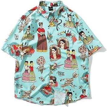 MPLG Camisa Camisa de Anime Camisas Hawaianas de Hip Hop Sueltas Camisas de Mujer Casual Streetwear Verano Manga Corta Impresión, Beige, M: Amazon.es: Deportes y aire libre
