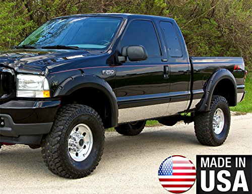 Made in USA! Works with 1999-2010 Ford F250/350 Superduty Extended Cab Short Bed Rocker Panel Trim Body Side Moulding 8.75
