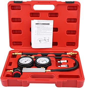 Cylinder Leakage Leakdown Leak Detector 4 Pcs Engine Compression Test Kit Double Gauge System TU-21