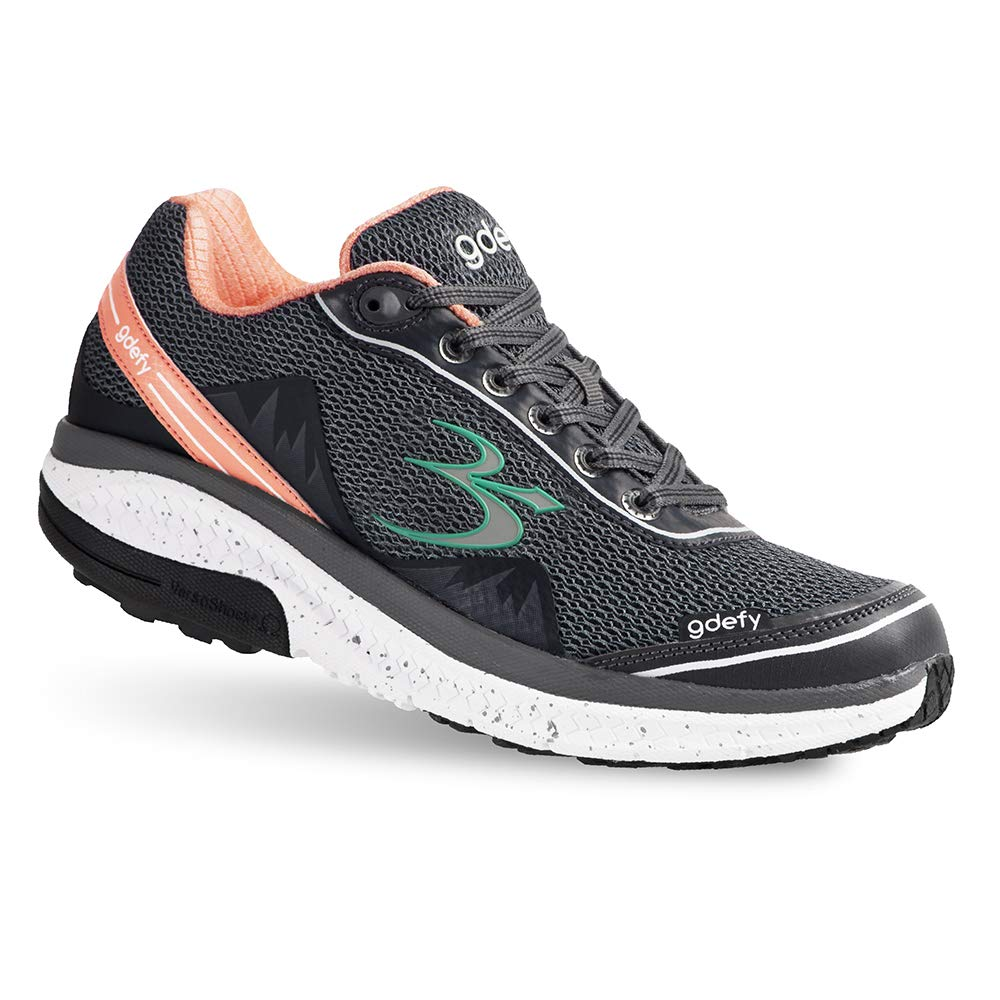 Gravity Defyer Proven Pain Relief Women's G-Defy Mighty Walk Salmon Gray Athletic Shoes 8.5 M US - Best Shoes for Heel Pain, Foot Pain and Plantar Fasciitis by Gravity Defyer