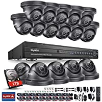 Sannce 1080P 16CH Video Security System with 2TB Hard Drive and (16) HD 19201080p CCTV Dome Cameras (IP66 Weatherproof Metal Housing, 100ft IR LED Night Vision, Motion Detection)